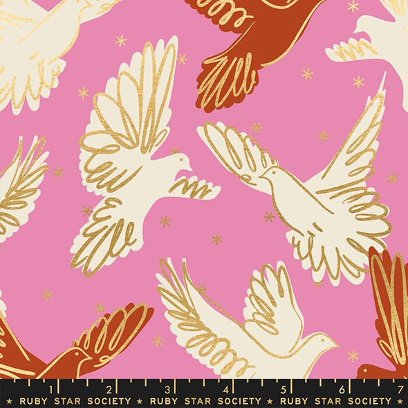 Fly pink gold Rise fabrics design