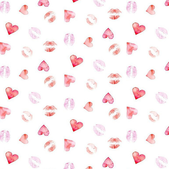 Lipstick Kisses Love cotton Fabrics design