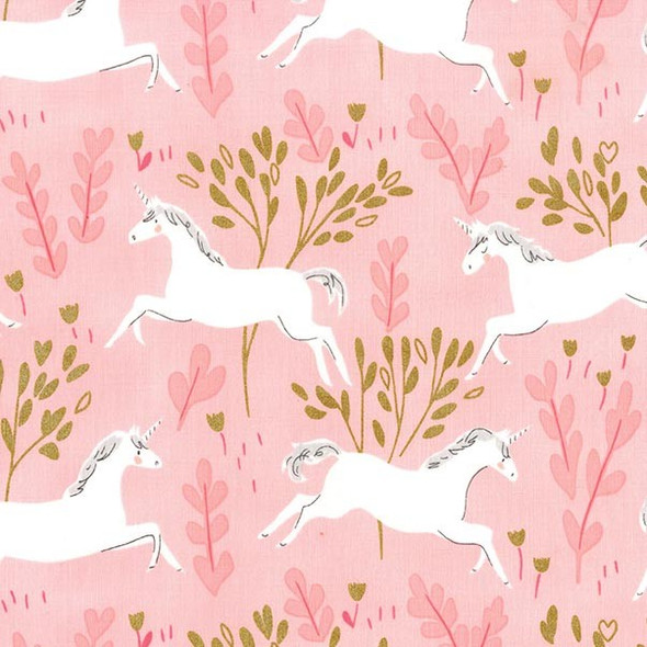 Unicorn Pink Mint Fabric, Michael Miller Magic Unicorn Forest cotton, QTR YD