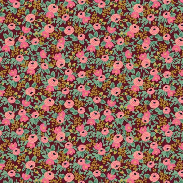Rosa Burgendy Metallic cotton fabrics design