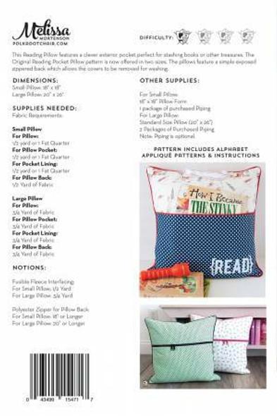 Reading Pocket kids pillow sewing pattern