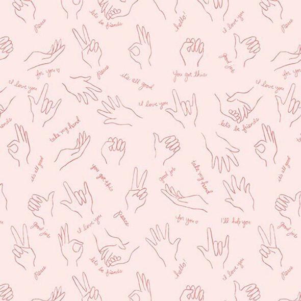 Pink Helping Hands Wonderful World fabrics design