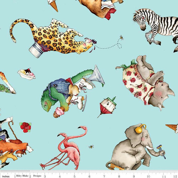 Blue Animal Toss Hungry Animal Alphabet fabrics design