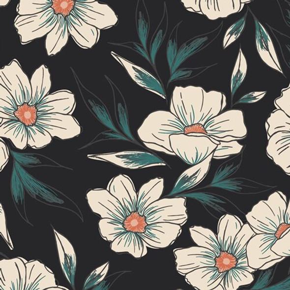 Black Magnolia floral fabrics design