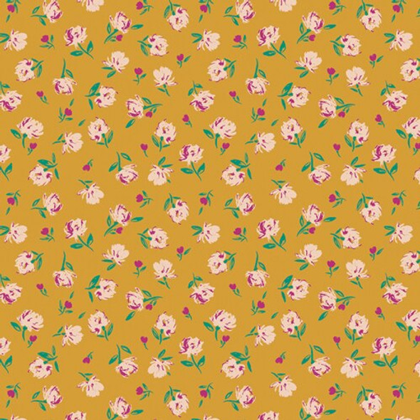 Mustard Floral Rosebuds Solar cotton fabrics design