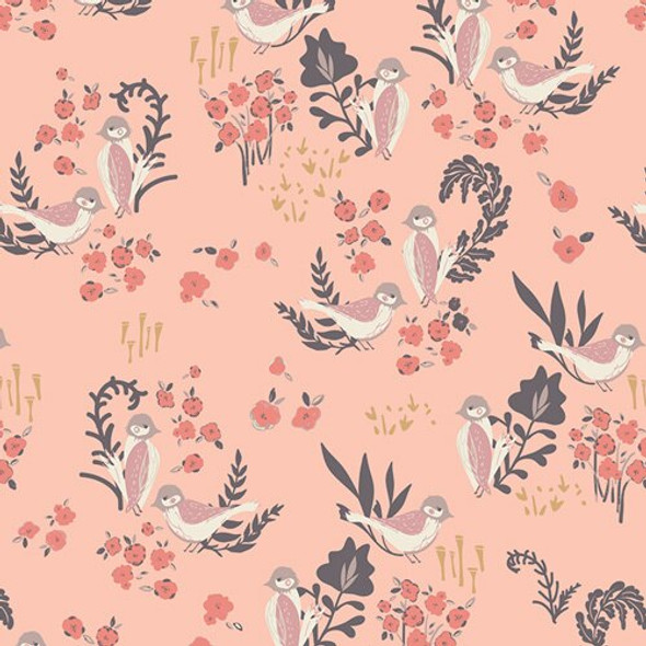Pink bird Feathered Fellow Blush organics fabrics design