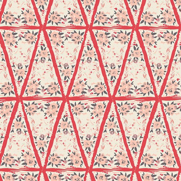 Pink Red Floral Frock Dahlia organic cotton Fabrics design