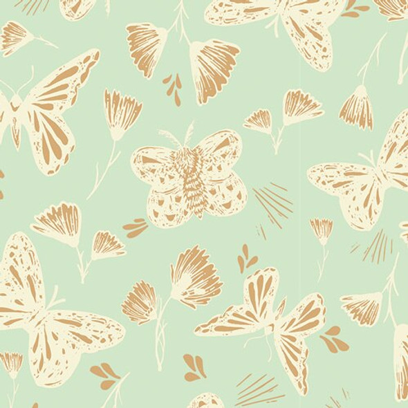 Mint Butterfly Golden fabrics design