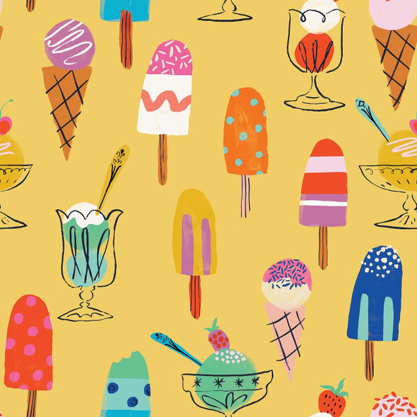 Yellow Ice Cream Treats fabric