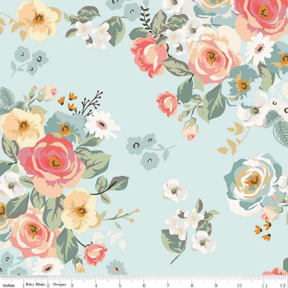 Aqua floral fabric Gingham Gardens