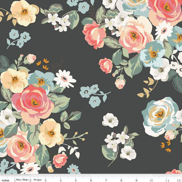 Black floral quilt cotton fabric Riley Blake Gingham Gardens