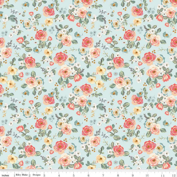 Blue small floral cotton fabric Riley Blake quilting fabric