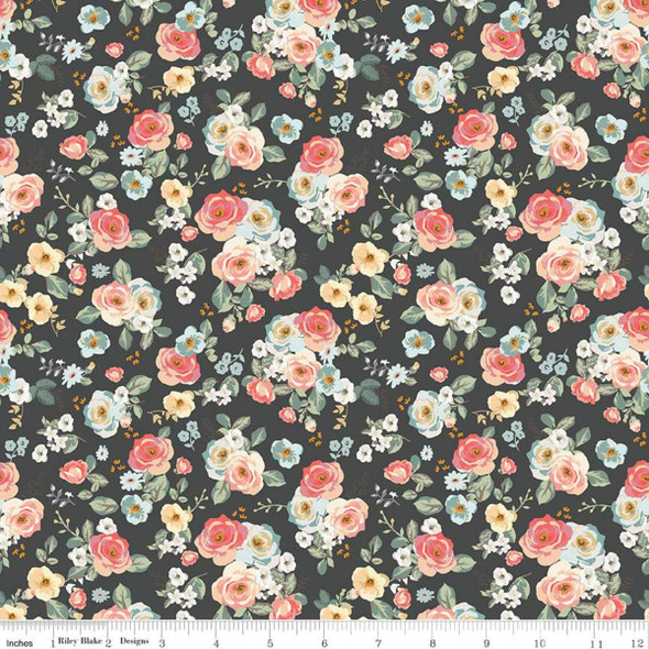 Small black floral quilting fabric Gingham Gardens Riley Blake