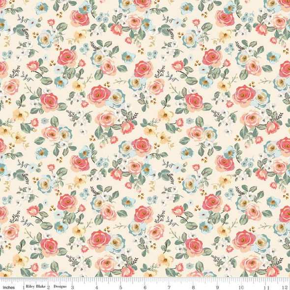 Cream small floral fabric Riley Blake quilting cotton