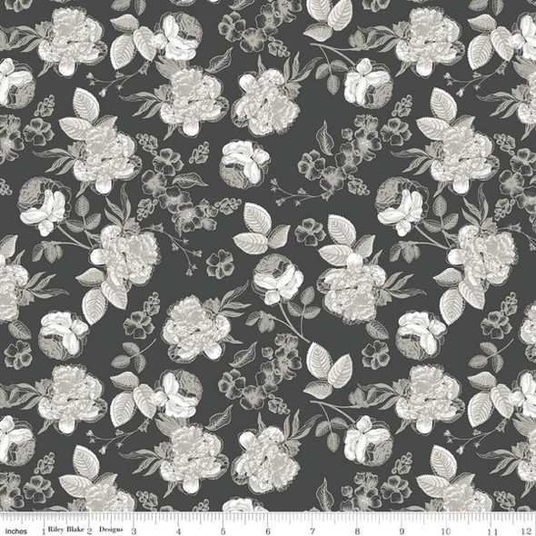 Black Lined Floral fabric Gingham Gardens floral