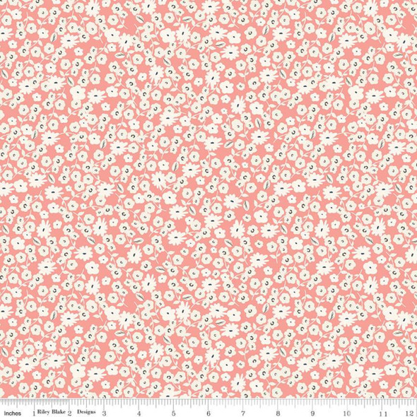Coral tiny white floral quilt fabric Gingham Gardens