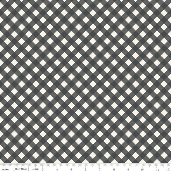 Black Gingham check cotton fabric Riley Blake quilt cotton