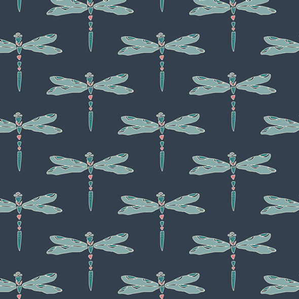 Navy dragonfly fabric, Art Gallery Fabrics Nox Iridescence Dim cotton, QTR YD