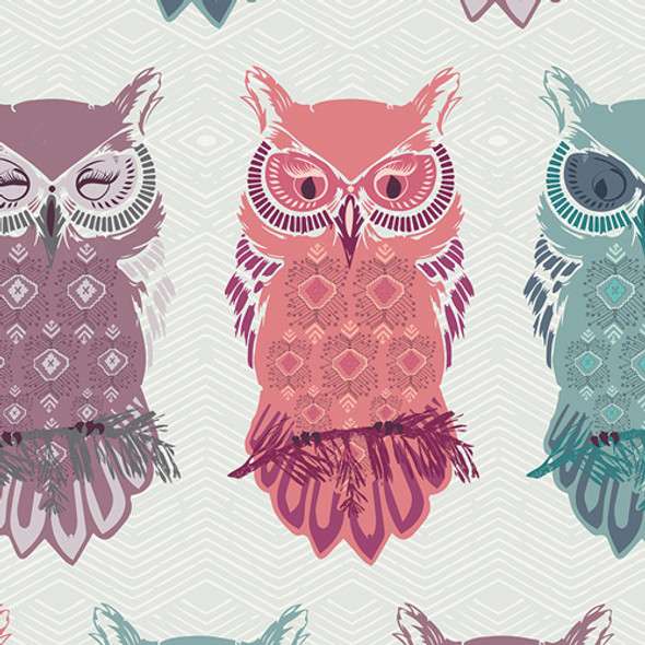 Pastel owl fabric, Art Gallery Fabrics Bird of Night Mist cotton, QTR YD