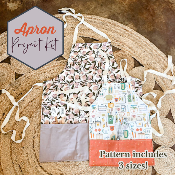 Apron Project Box Kit - Adult Child Toddler apron pattern fabric kit