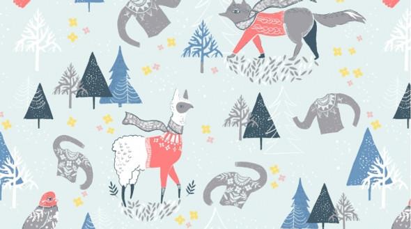 Woodland winter scene cotton fabric, Dear Stella Winterscape cotton, QTR YD