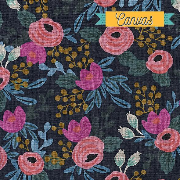 Rosa Navy floral cotton CANVAS fabric design
