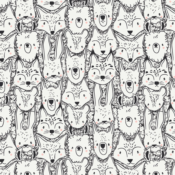 Wild Friends Animal cotton fabric Pacha Art Gallery Fabrics