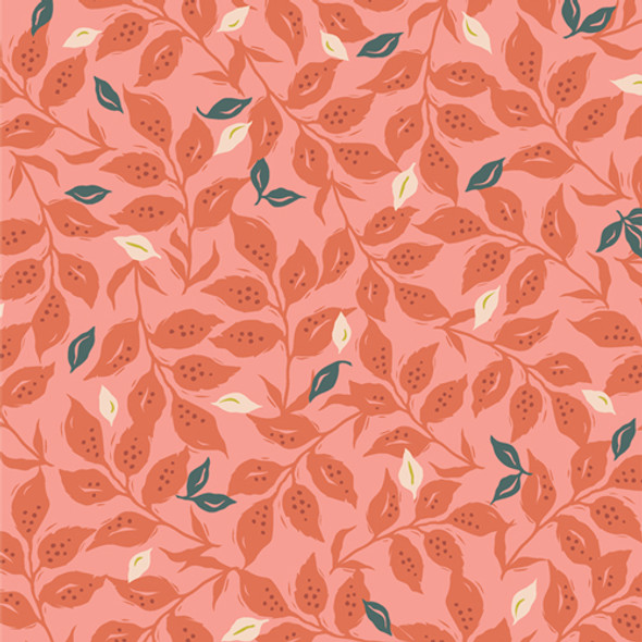 Dark pink floral quilting cotton Woodcut Sunset