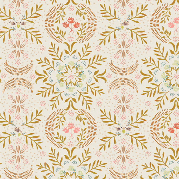 Firefly Awaken gold pink floral quilt cotton AGF Velvet cotton