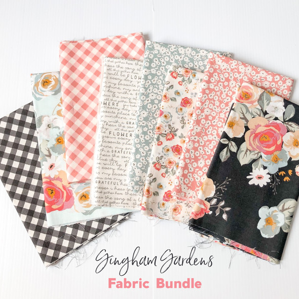Gingham Gardens floral 8-piece Fabric Bundle quilt cotton - Riley Blake Designs