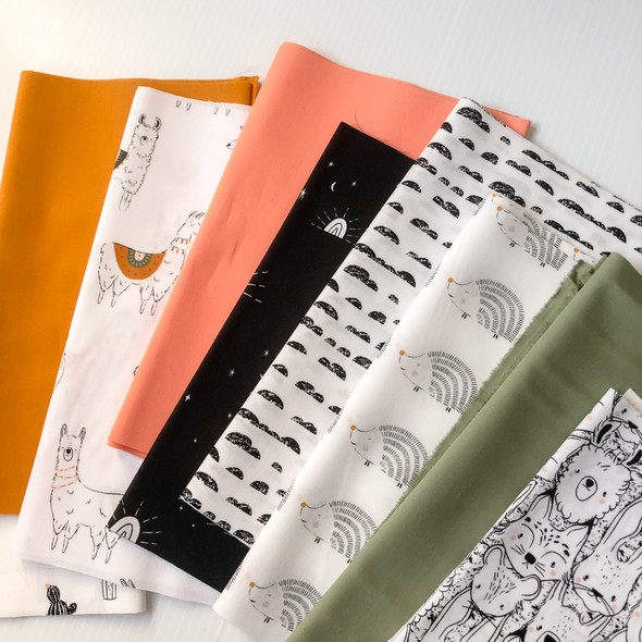 Llama and Friends 9-piece Fabric Bundle quilt cotton - AGF Pacha bundle