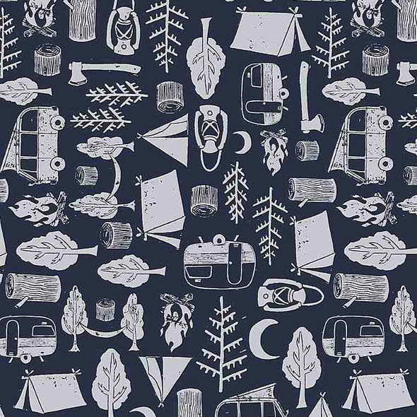 Navy White Camping Gear fabric - Dear Stella Got Wood?