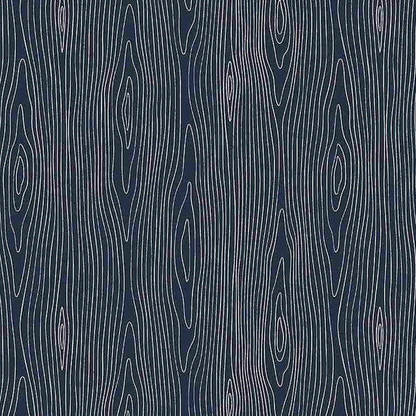 Navy Wood Grain forest fabric - Dear Stella Wood Grain cotton