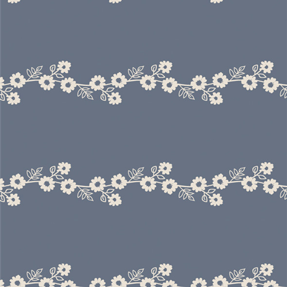 Blue white Daisy Chain floral fabric AGF Lilliput cotton QTR YD