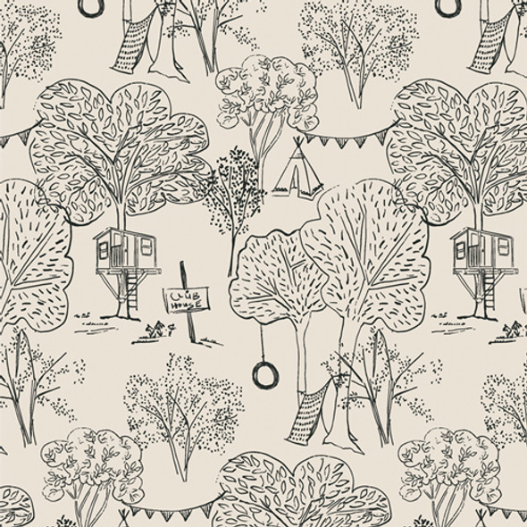 Hand drawn Outdoor Fort Imagination Kids Fabric - AGF Lilliput QTR YD