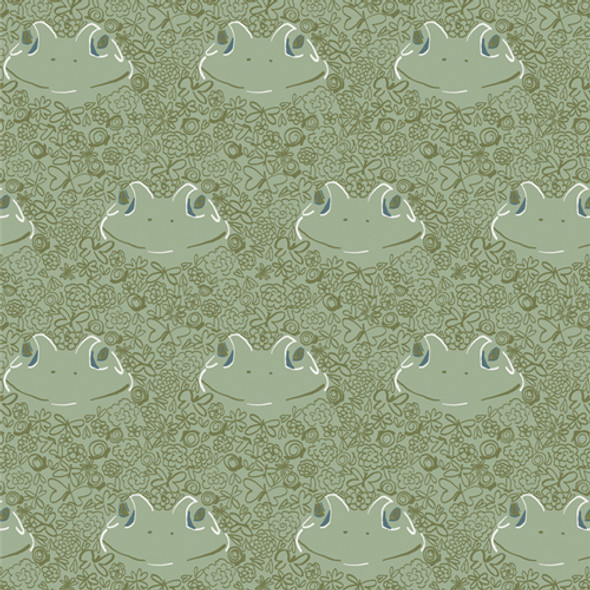 Green Frog cotton fabric Ode to Toddy AGF summer fabric QTR YD