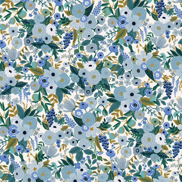 Garden Party Petite Blue floral fabric - Rifle Paper Co quilt cotton