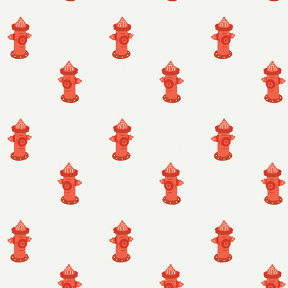 Red Fire Hydrant dog quilt cotton fabric - Potty Break Art Gallery Fabrics