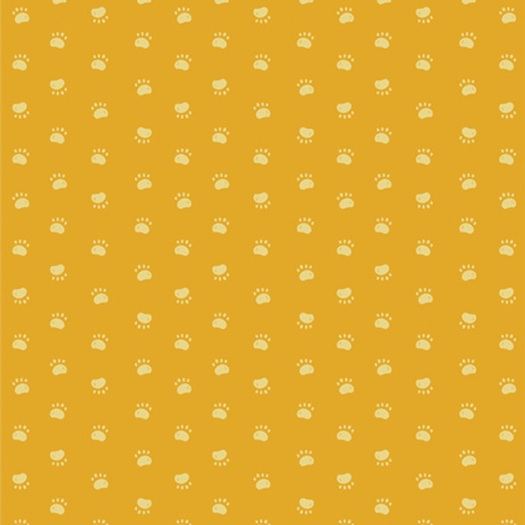 Yellow paw print fabric quilting cotton - Pawsome Walk AGF Oh Woof