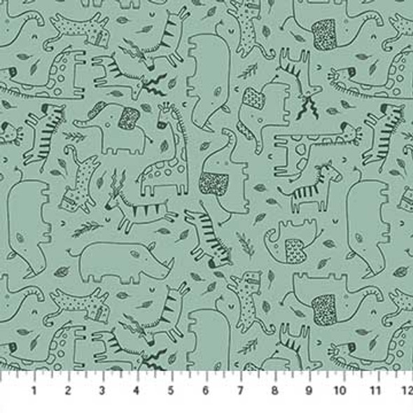 Mint green safari animal fabric Savanna Sunset quilt cotton
