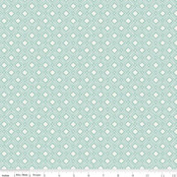 Mint Sky Diamond low volume cotton fabric Tea with Bea