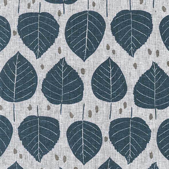 Charcoal gray leaf print cotton linen fabric Robert Kaufman essex linen