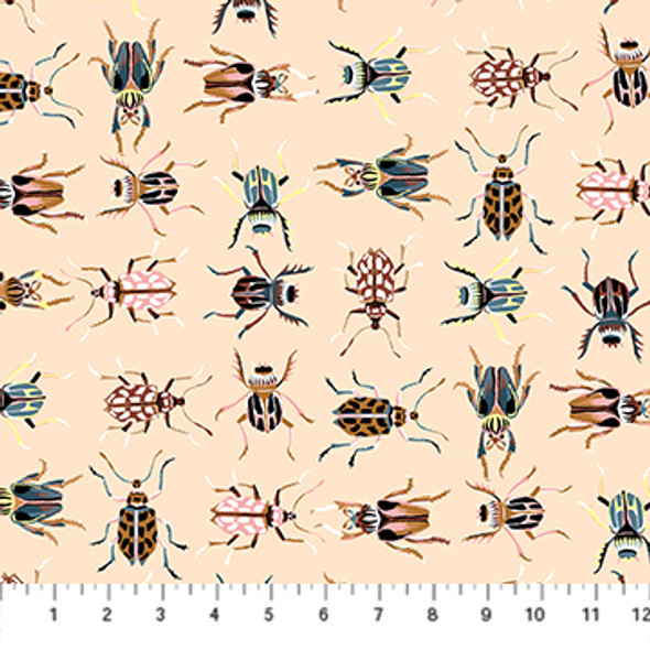 Cream Bugs Forage cotton fabric - FIGO Fabrics quilting cotton