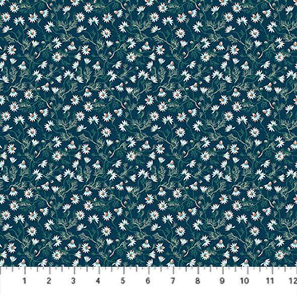 Tiny navy daisy fabric - Chamomile FIGO Fabrics fabric quilt cotton