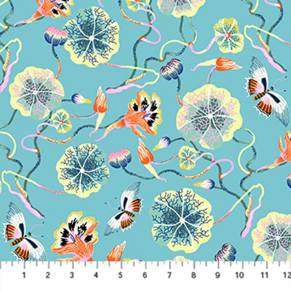Blue Forage floral cotton fabric FIGO Fabrics Nasturtium QTR YD