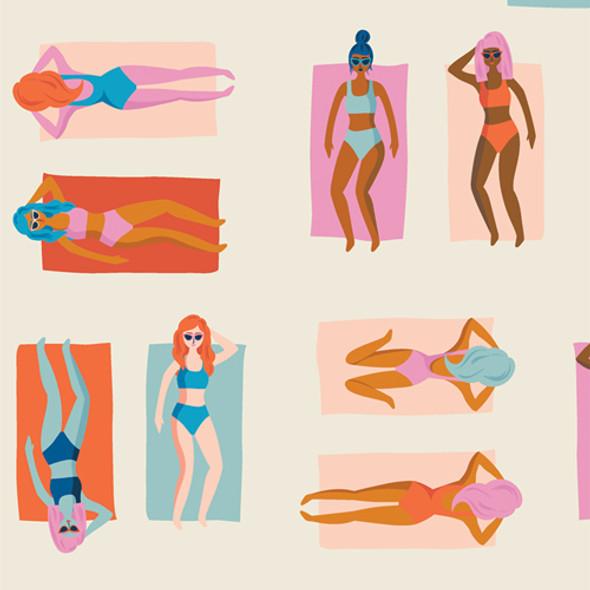Retro tanning girls bright AGF Fun in the Sun Chill quilt cotton Sunburst