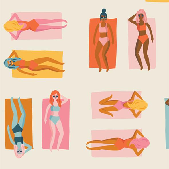 Retro tanning girls warm Art Gallery Fun in the Sun Warm quilt cotton