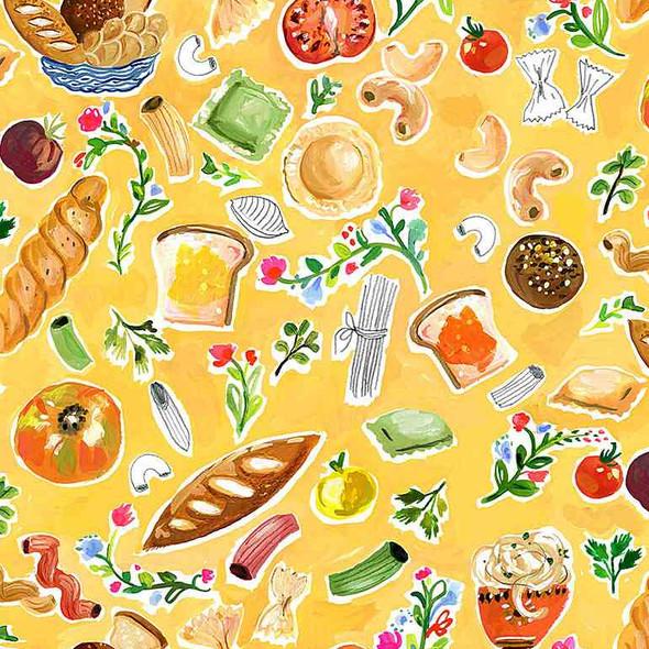 Carb Heaven bread pasta food fabric Dear Stella Chef's Table