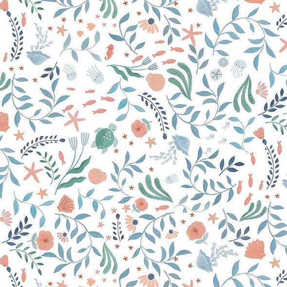 White beachy floral turtle seaweed fabric Dear Stella Fabrics Go with the Flow