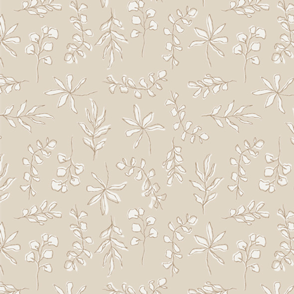 Neutral beige leaves floral fabric Art Gallery Soften the Volume cotton